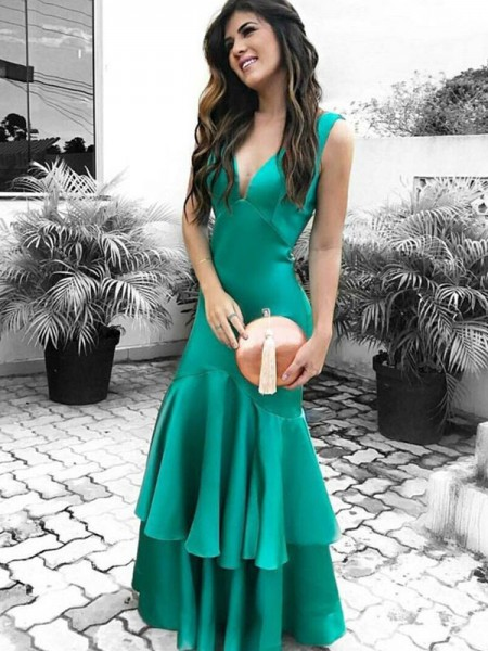 Sheath/Column Sleeveless V-neck Satin Ruffles Floor-Length Dresses