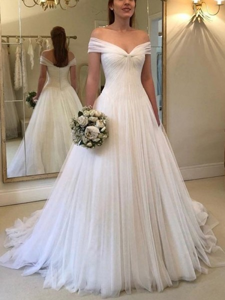 A-Line/Princess Sleeveless Off-the-Shoulder Tulle Ruched Sweep/Brush Train Wedding Dresses