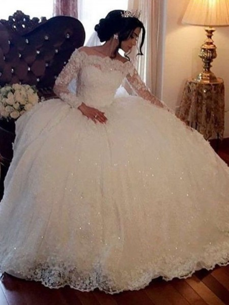 Ball Gown Long Sleeves Bateau Tulle Floor-Length Wedding Dresses