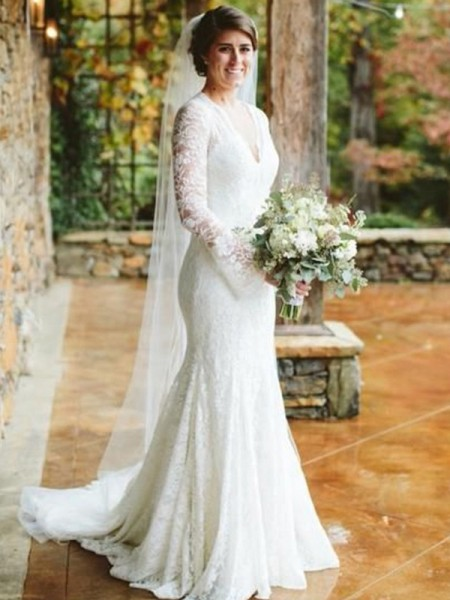 Trumpet/Mermaid Long Sleeves V-neck Lace Ruffles Sweep/Brush Train Wedding Dresses