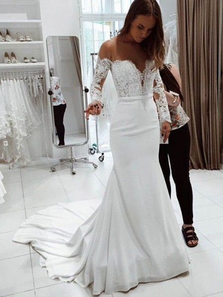 Trumpet/Mermaid Long Sleeves Off-the-Shoulder Chiffon Court Train Wedding Dresses