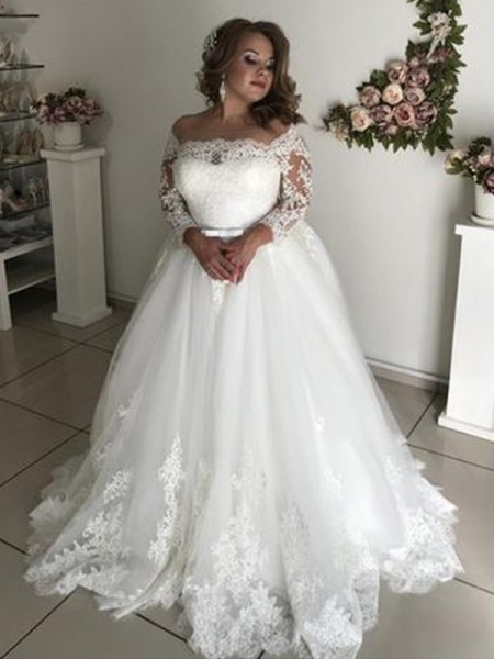 A-Line/Princess Long Sleeves Off-the-Shoulder Tulle Sweep/Brush Train Wedding Dresses