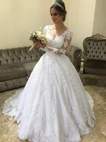 Ball Gown Long Sleeves V-neck Satin Applique Sweep/Brush Train Wedding Dresses