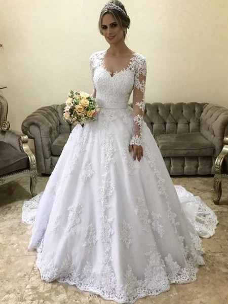 Ball Gown Long Sleeves V-neck Satin Applique Court Train Wedding Dresses