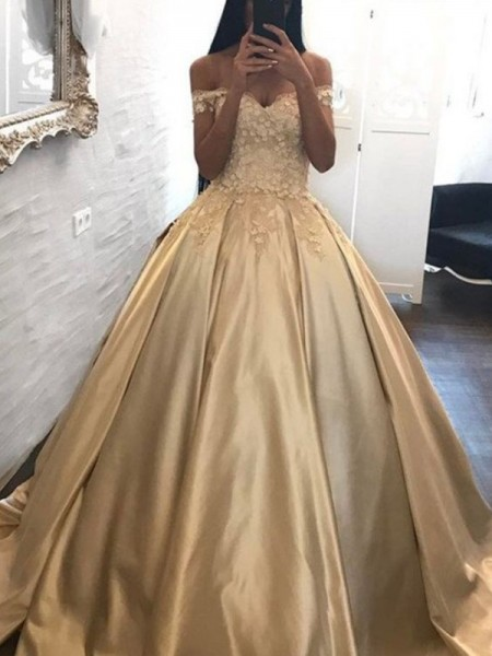 Ball Gown Sleeveless Off-the-Shoulder Satin Applique Sweep/Brush Train Dresses