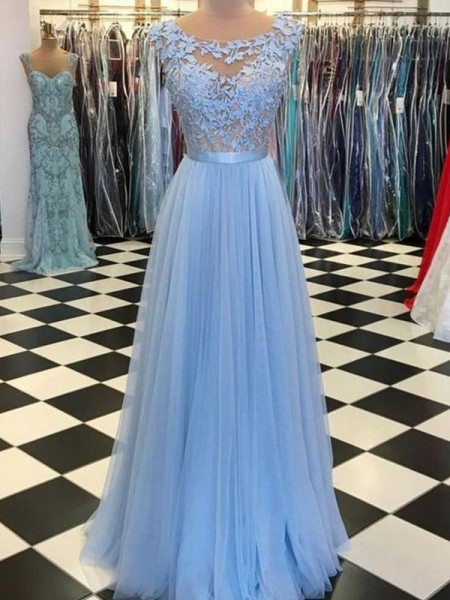 A-Line/Princess Sleeveless Scoop Tulle Applique Floor-Length Dresses