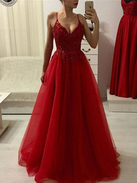 A-Line/Princess Sleeveless Spaghetti Straps Tulle Applique Floor-Length Dresses
