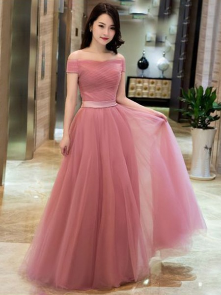A-Line/Princess Sleeveless Off-the-Shoulder Tulle Ruffles Floor-Length Dresses