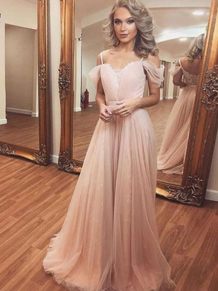 A-Line/Princess Sleeveless Off-the-Shoulder Tulle Ruched Sweep/Brush Train Dresses