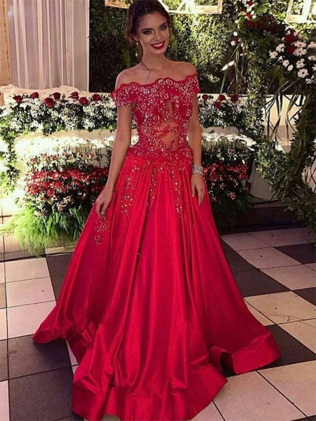 Ball Gown Sleeveless Off-the-Shoulder Satin Beading Sweep/Brush Train Dresses