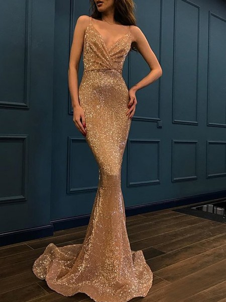 Trumpet/Mermaid Sleeveless Sweep/Brush Train Spaghetti Straps Sequins Dresses