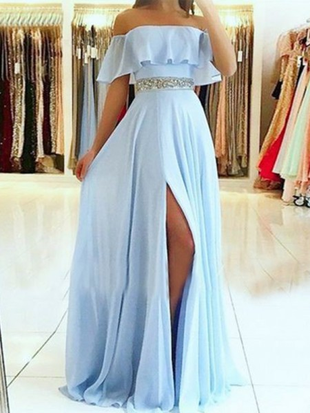 A-Line/Princess Sleeveless Floor-Length Off-the-Shoulder Beading Chiffon Dresses