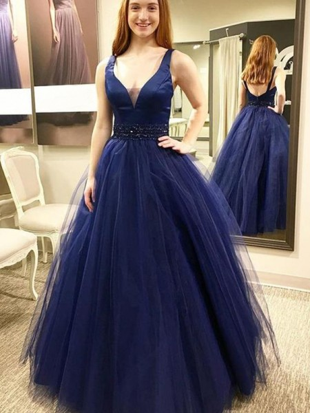Ball Gown Sleeveless Floor-Length V-neck Beading Tulle Dresses