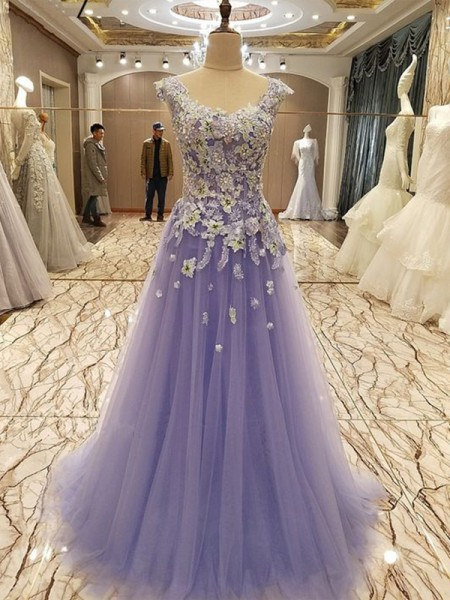 A-Line/Princess Sleeveless Floor-Length Scoop Applique Tulle Dresses