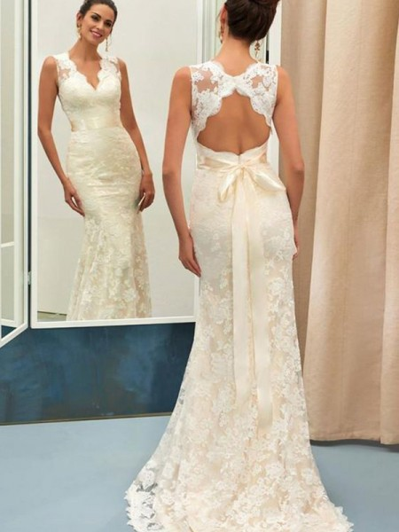 Trumpet/Mermaid Sleeveless Sweep/Brush Train V-neck Sash/Ribbon/Belt Lace Wedding Dresses