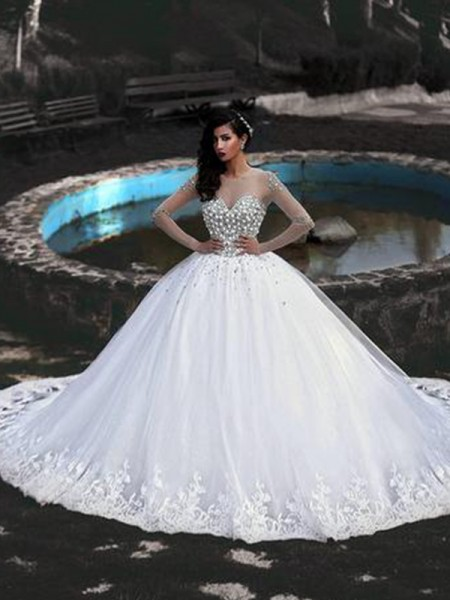 Ball Gown Long Sleeves Sweep/Brush Train Scoop Beading Tulle Wedding Dresses