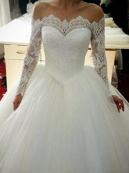 Ball Gown Long Sleeves Sweep/Brush Train Off-the-Shoulder Applique Tulle Wedding Dresses