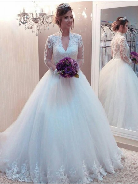 Ball Gown Long Sleeves Sweep/Brush Train High Neck Applique Tulle Wedding Dresses