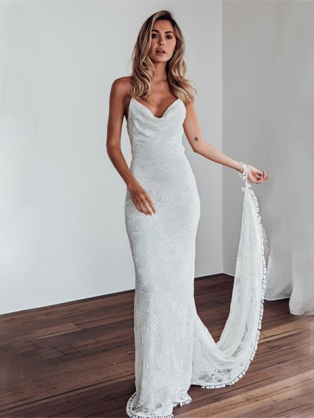 Sheath/Column Sleeveless Sweep/Brush Train Spaghetti Straps Lace Lace Wedding Dresses