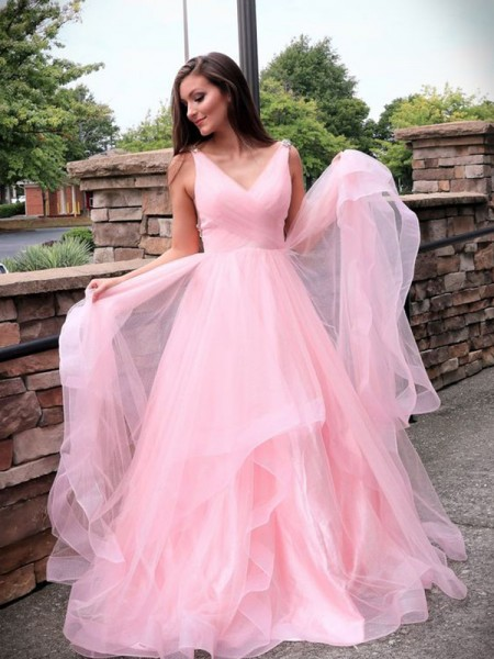A-Line/Princess Sweep/Brush Train V-neck Sleeveless Ruched Tulle Dresses