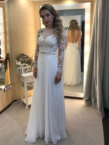 A-Line/Princess Bateau Long Sleeves Chiffon Floor-Length Wedding Dresses