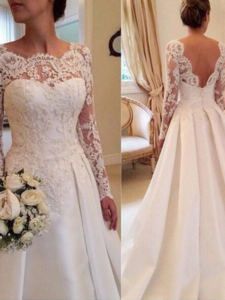 Ball Gown Scoop Long Sleeves Satin Court Train Wedding Dresses