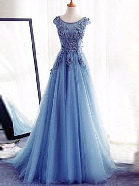 Ball Gown Jewel Sleeveless Tulle Applique Sweep/Brush Train Dresses