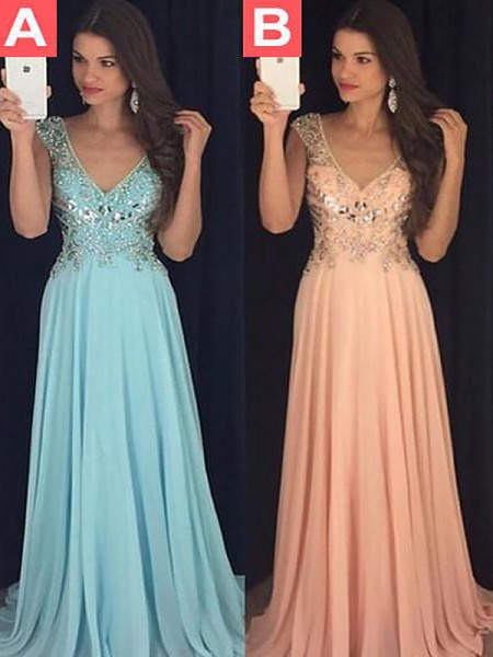 A-Line/Princess V-neck Sleeveless Chiffon Paillette Floor-Length Dresses