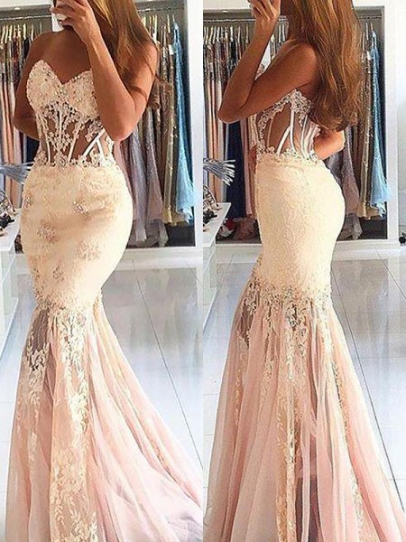 Trumpet/Mermaid Sweetheart Sleeveless Tulle Sweep/Brush Train Dresses