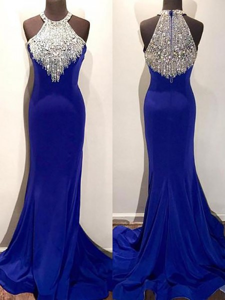 Trumpet/Mermaid Halter Sleeveless Satin Beading Sweep/Brush Train Dresses