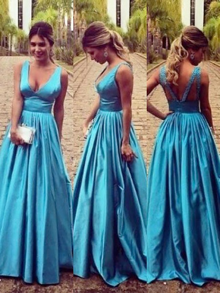 A-Line/Princess V-neck Sleeveless Elastic Woven Satin Ruched Floor-Length Dresses