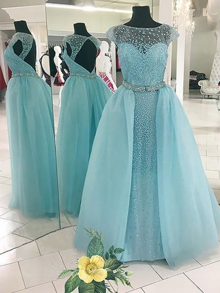 Ball Gown Bateau Sleeveless Tulle Beading Floor-Length Dresses