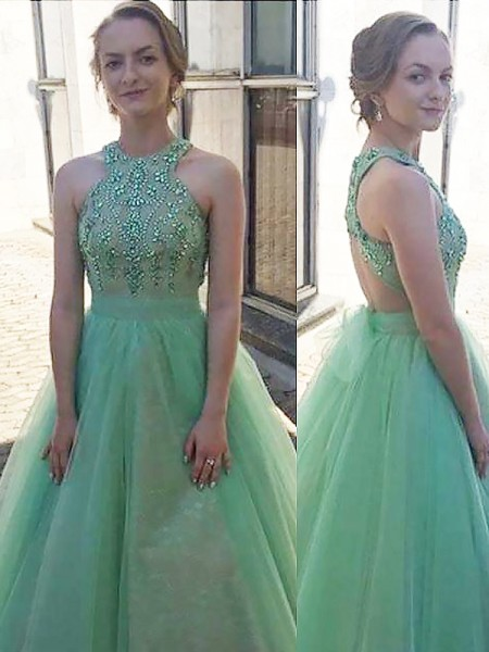 Ball Gown Halter Sleeveless Tulle Beading Floor-Length Dresses