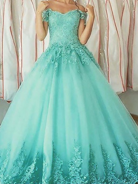 Ball Gown Off-the-Shoulder Sleeveless Tulle Applique Floor-Length Dresses