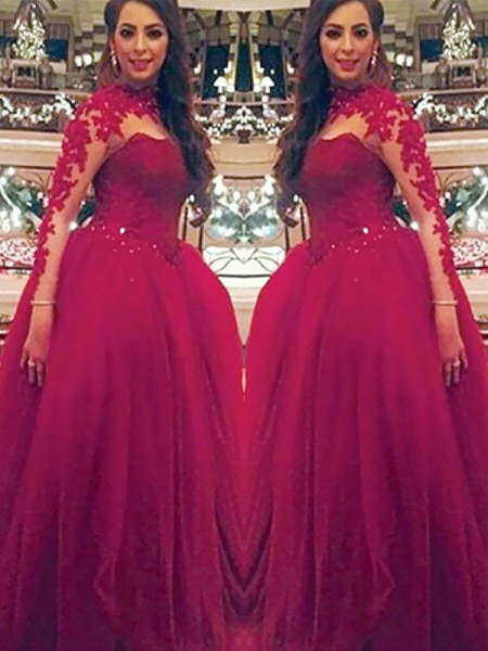 Ball Gown High Neck Long Sleeves Tulle Applique Floor-Length Dresses