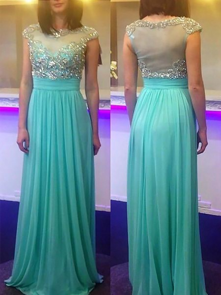 A-Line/Princess Bateau Sleeveless Chiffon Beading Floor-Length Dresses
