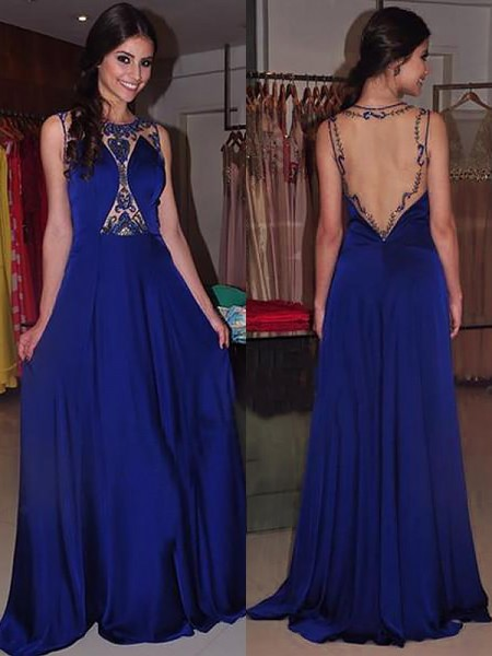 A-Line/Princess Bateau Sleeveless Chiffon Beading Sweep/Brush Train Dresses