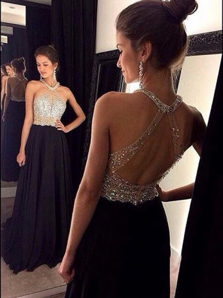 A-Line/Princess Sleeveless Halter Chiffon Beading Sweep/Brush Train Dresses