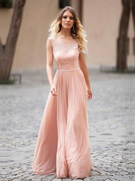 A-Line/Princess Sleeveless Scoop Chiffon Applique Floor-Length Dresses