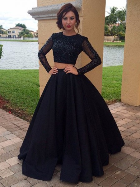 Ball Gown Long Sleeves Scoop Satin Beading Floor-Length Dresses