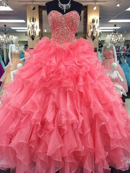 Ball Gown Sleeveless Sweetheart Organza Beading Floor-Length Dresses