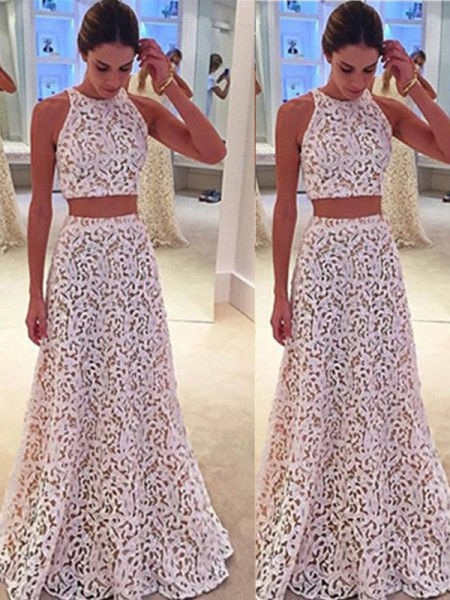 A-Line/Princess Sleeveless Scoop Lace Floor-Length Dresses