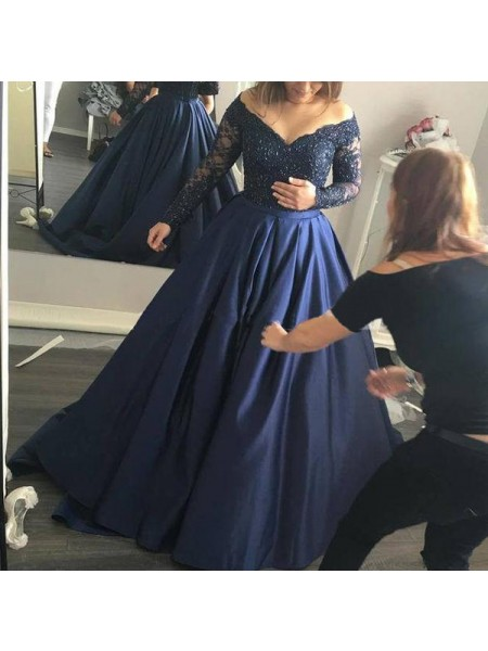 Ball Gown Long Sleeves Off-the-Shoulder Satin Beading Sweep/Brush Train Dresses