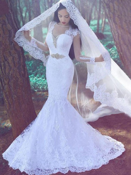 Trumpet/Mermaid Long Sleeves Sweetheart Lace Applique Court Train Wedding Dresses