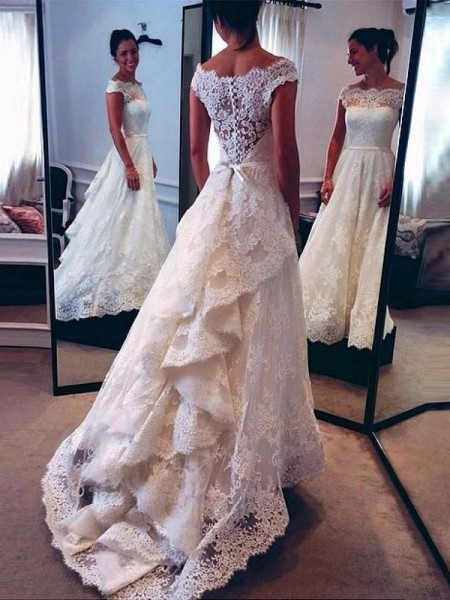 A-Line/Princess Sleeveless Scoop Lace Court Train Wedding Dresses