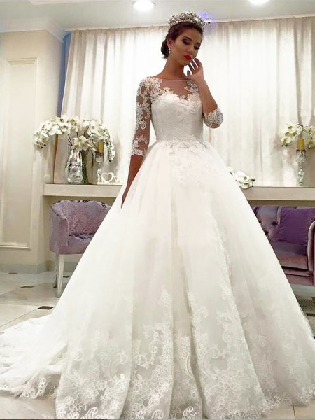 Ball Gown 3/4 Sleeves Bateau Tulle Court Train Wedding Dresses