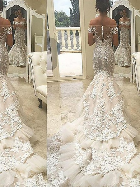 Trumpet/Mermaid Short Sleeves Off-the-Shoulder Tulle Chapel Train Wedding Dresses