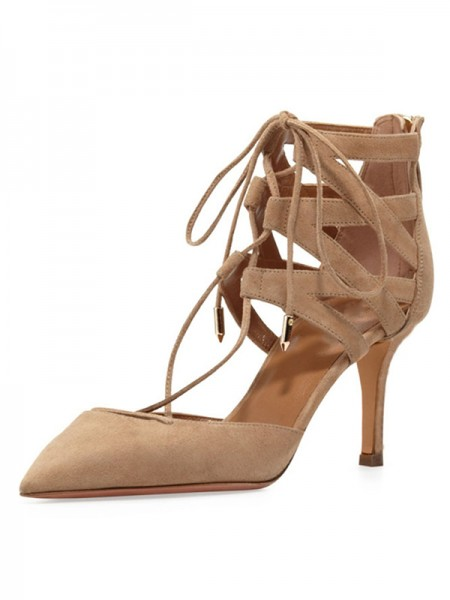 Women's Stiletto Heel Suede Closed Toe With Lace-up Sandals Shoes