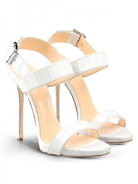 Women's Peep Toe Stiletto Heel Cattlehide Leather With Buckle Party Sandals Shoes