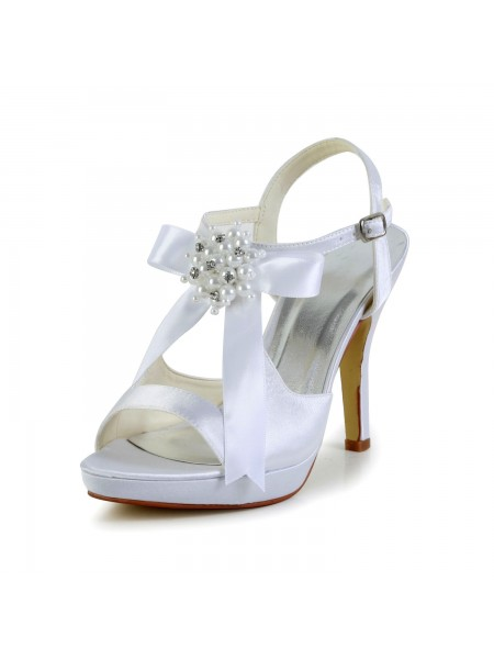 Women's Satin Stiletto Heel Peep Toe Platform Sandals White Wedding Shoes With Bowknot
